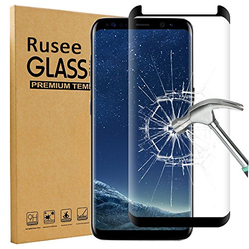 Price comparison product image Galaxy S8 Screen Protector, Rusee Samsung Galaxy S8 Tempered Glass Screen Protector, Full Coverage, Ultra HD Clear, Anti-Scratch, Bubble Free, Anti-Fingerprint Curved Protective Film Cover for Samsung Galaxy S8