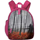 Lovely Schoolbag Mystic Forest Trees Red Grass Double Zipper Waterproof Children Schoolbag Backpacks with Front Pockets for Teens