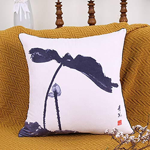 Anyer Chinesisches Stil Kissen Kissen Im Chinesischen Stil Wohnzimmer Sofa Tinte Malerei Lotus Rechteck Pillowcase,B,45 * 45Cm - Tinte Sham