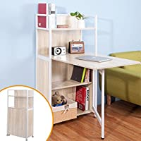 Life Carver Compact Computer Desk 4 Display Storage Shelves With Hideaway  Folding Study Laptop Desk Table