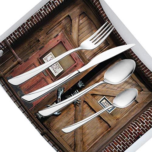 30-teiliges Besteckset, Zombie-Geschirr, Edelstahl-Besteck, Geschirrset für 6 Personen, einschließlich Messer, Gabeln, Löffel, Teelöffel und Tischset, Monster hinter der Holztür, Dämon Halloween