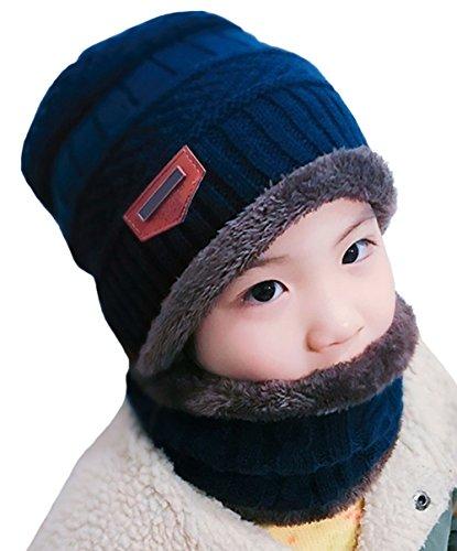 DELEY Unisex-Kinder Mütze Sets Jungen Mädchen Strickmütze mit Circle Schal Ski-Outdoor Sport Winter Warme Mütze Crochet Cap Navy (Kinder-circle-schal)