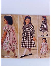 Butterick Girl's 4215 Toddler Vintage Sewing Pattern Big Bow Dress