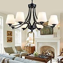 LIXIONG Colgante de luz- 3/6/8 Luces Chandelier Moderno / Contemporáneo Tradicional / Clásico Vintage País Hierro Característica para Sala de estar Dormitorio Comedor -Iluminación de araña ( Color : 8 , Tamaño : Luz blanca )