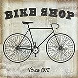 Feelingathome- IMPRESION-SOBRE-LIENZO-100%algodon-Tienda-de-bicicletas-cm86x86-cuadro-reproduccion-en-lienzo-ENMARCADO