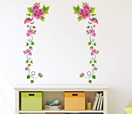 Amazon Brand - Solimo Wall Sticker for Living Room (Flower Garland, Ideal Size on Wall - 58 cm x 62 cm)