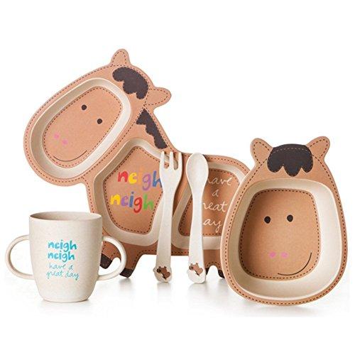 Kinder Bambusfaser Cartoon Geformte Dinner Set, 5 Stück (Braunes Pferd) - 5 Stück Kinder-dinner-set