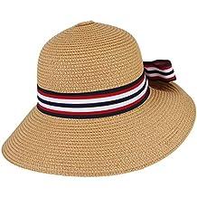 a657d4a86981a GEMVIE Sombrero Bombín de Playa Mujer Gorra de Sol Cinta a Rayas Verano Caza