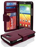 Cadorabo Hülle für LG L90 Hülle in Handyhülle mit 3 Kartenfächern Case Cover Schutzhülle Etui Tasche Book Klapp Style Bordeaux Lila
