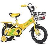 Zhangcaiyun Liegerad Kinder Jungen Gilrs Niedlichen Cartoon Malerei Fahrrad Mit Stablizers 12 inch Alter 3-5Y Innen- (Farbe : Gelb)