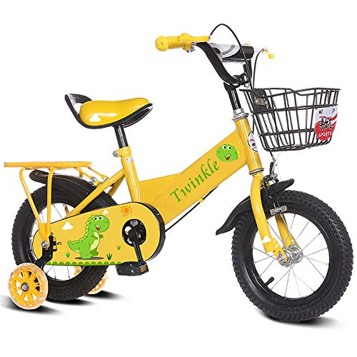 Zhongsufei-KB Laufen Balance Bike Kinder Jungen Gilrs Niedlichen Cartoon Malerei Fahrrad Mit Stablizers 12 inch Alter 3-5Y für Kleinkinder und Kinder (Farbe : Gelb)