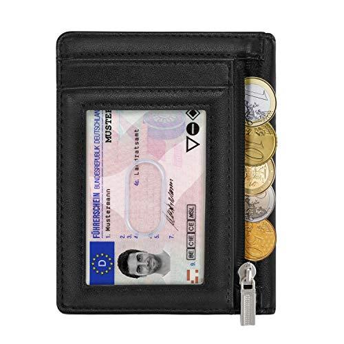 Geldbeutel Männer Geldbörse Herren Kartenetui Leder Slim Portemonnaie Herren Geldtasche Portmonee RFID Brieftasche Mini Kreditkartenetui mit Münzfach -