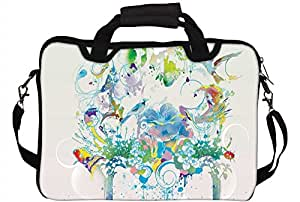 "Snoogg Abstract Bird Art 14"" 14.5"" 14.6"" inch Laptop Notebook SlipCase With Shoulder Strap Handle Sleeve Soft Case With Shoulder Strap Handle Carrying Case With Shoulder Strap Handle for Macbook Pro Acer Asus Dell Hp Sony Toshiba"
