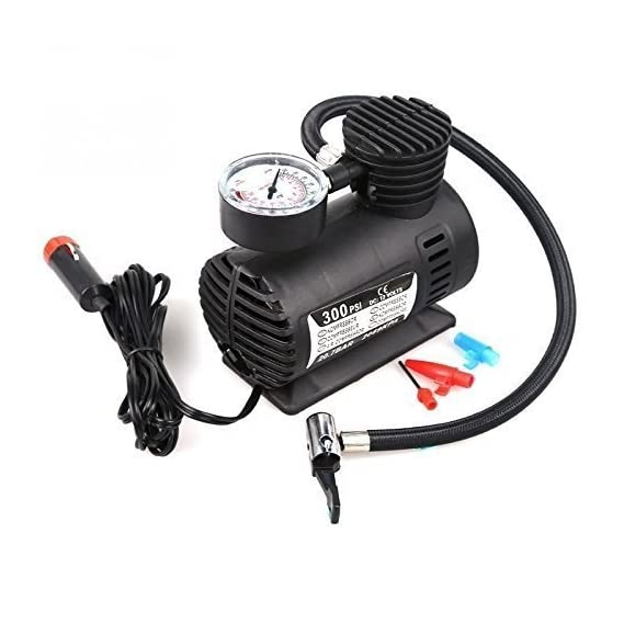 Clothsfab Air Pump Compressor 12V Electric Car Bike Tyre Tire Inflator/Compact Durable Car Air Compressor Car Tire Inflator Auto Air Compressor Tire Pump with Pressure Gauge for Car Bicycle Ball Rubber Dinghy DC 12V