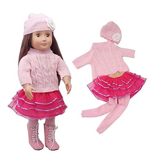 JIUZHOU Top Online Toy Shop Niedlicher Schneemann-Pullover und Hose und Röcke und Kappe für 45,7 cm American Girl Puppe