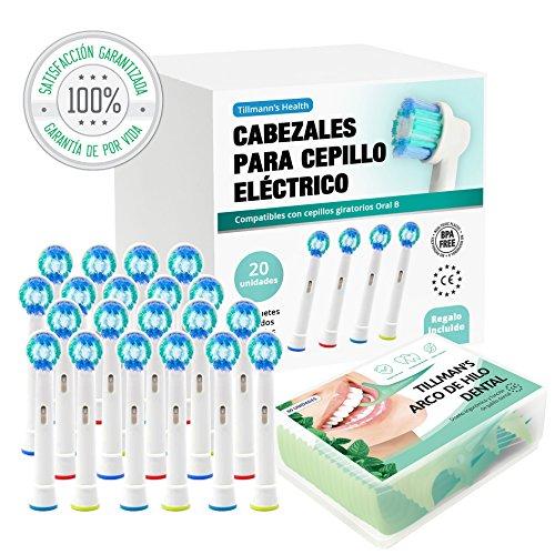 Recambios Cepillo Oral B Compatibles 20 Unidades + Arcos Hilo Dental Regalo | Cabezales Cepillos Oral B | Para Oral B Cabezales | Recambios Oral B Compatibles | Recambio Cepillo Electrico Oral B