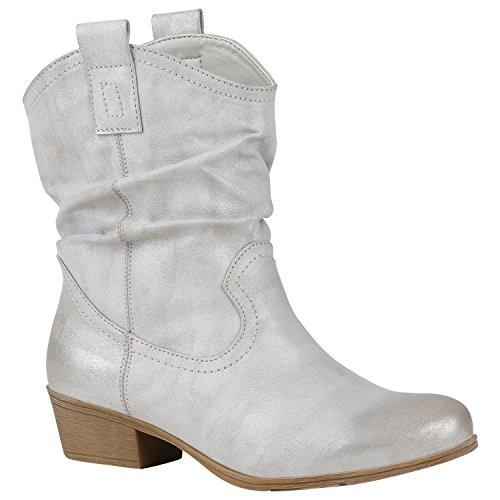 Bequeme Damen Schuhe Stiefeletten Cowboy Boots Western 150455 Hellgrau 39 Flandell (Schuh Cowgirl Western Boot)