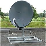 XM-line Solidy 4104840 SAT de techo Soporte de pie para pantalla plana, soporte para balcón, acero galvanizado, acero inoxidable, H: 100 cm, diámetro: 48 mm, para 4-8 placas de hormigón
