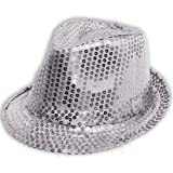 Sofias Closet Sequin brillant déguisement chapeau mou Fedora DANSE MJ Argent - Argent, One Size
