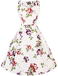 393fd6b3fe Hearts   Roses London Off White Floral Vintage Retro 1950s Flared Swing  Dress