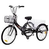 """Yonntech Tricicli Adulti 24"""" 6 velocità Bicicletta 3 Ruote Adulti Bici da Uomo, Donna con Cestino di acquisto (Nero)"""