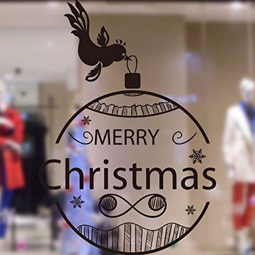 Wandaufkleber Fensterdekoration Shop Home Ornamente Entfernbare Vogel Laterne Frohe Weihnachten (Vogel-ornamente Weihnachten)
