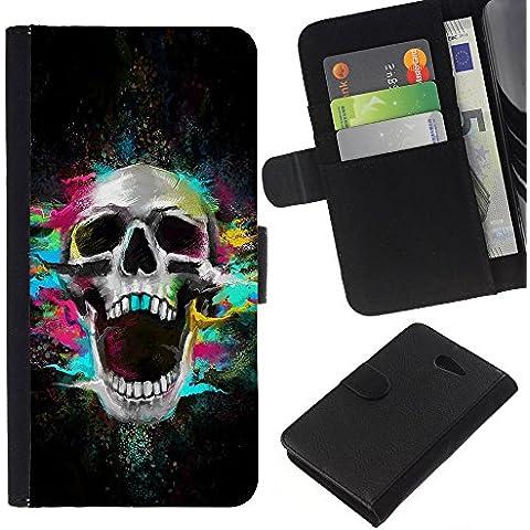 Leather Etui en cuir || Sony Xperia M2 || Los dientes del cráneo de neón Scream Esqueleto colorido
