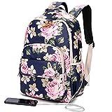 Mädchen Schulrucksack,Damen Oxford Rucksack Floral Schultasche Outdoor Freizeit Daypacks Schultaschen MädchenTeenager mit USB Charging Port