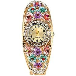 ? Women's FFlyyfreeower Golden Color Crystal Bracelet Wrist Watch (Multi-Color)