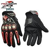 #8: Pitzo Probiker Fire Roller Full Finger Riding Gloves (Black, XXL)