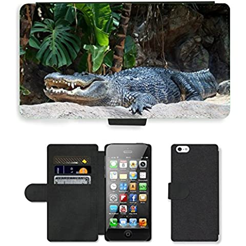 PU Flip Carcasa Funda de Cuero Piel Cubre Case // M00111365 Dente coccodrillo Rettile Animale // Apple iPhone 5 5S 5G - Coccodrillo Dente