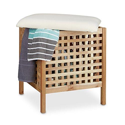 Relaxdays Tabouret de salle de bain en bois de noyer massif compartiment linge coffre coussin assise corbeille 52 litres HxlxP: 52 x 49 x 49 cm, couleur naturelle et blanc