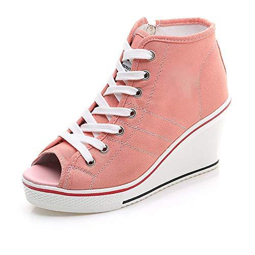 SY High-Top Canvas Open-Toe Damen High Heels Erhöht 8 Cm Keilabsatz Lässige Mode Seitlicher Reißverschluss Mädchen Pump,pink,42 Pink Toe Pumps