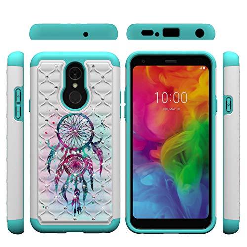 LG Q7 Hülle Case Cover Bling Diamant Schutzhülle Handyhülle Case Handytasche Dual Layer Schutz Tasche Innere TPU Silikon + PC Hardcase Schale Twin Windspiele