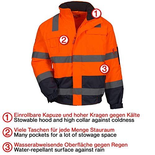 con Rifinitura Riflettente 3M Nitras Motion Tex Viz Giacca da Lavoro in Softshell Arancione Alta visibilit/à