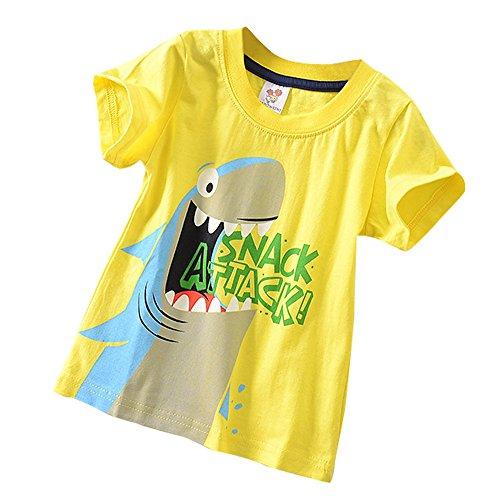 UFODB Jungen T Shirt Tee Junge Mädchen Unisex Cartoon Crew Neck Drucken T-Shirts Kurzshirt Sportshirt Sommerkleidung ()