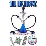 Aladin Origins Shisha Numea, 2-Schlauch-Wasserpfeife, Geschenk-Set mit Kohle und Bigg Ice Rockz Grape (Blau)