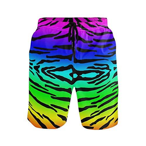 Rainbow Colorful Tiger Skin Print Herren Strandshorts Badehose Schnelltrocknende Boardshorts mit Mesh-Innenfutter