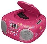 Bigben CD38 Tragbares Radio mit CD-Spieler - Kids inkl. 250 Sticker pink