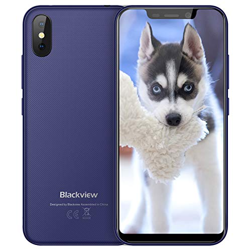 Blackview A30 Telefonos Moviles Smartphone Baratos Dual SIM 5.5 Pulgadas(19: 9) FHD Android 8.1 Desbloqueo Teléfono, 5MP+8MP Cámaras 16GB ROM Face ID 3G Blackview Phone Azul
