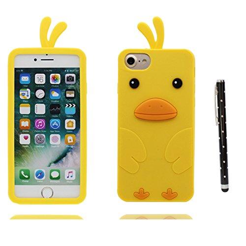 """iPhone 7 Coque, Étui Cover Housse pour iPhone 7 4,7 """" Cartoon 3D Cat Bowknot Kitty Chat en Gel TPU Shell iPhone 7 Case (4.7"""") Résistant à la poussière Scratch et stylet jaune"""