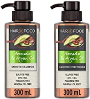 Hair Food Sulfate Free Smoothening Shampoo and Conditioner with Avocado and Argan Oil, 2 x 300 ml