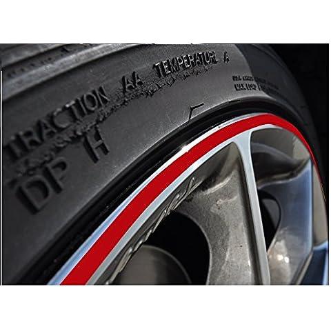 StickandShine - Pegatina para llantas de ruedas (10 mm, de 10 a 24 pulgadas, apto para automóvil y moto), color