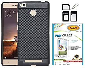 Tidel Exclusive Dotted Matte Finish Soft Back Cover for Redmi 3s prime( Black ) With Tidel 2.5D Curved Tempered Glass & Micro/Nano Sim Adapter