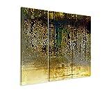 3 teiliges Leinwand-Bild 3x90x40cm (Gesamt 130x90cm) Vintage Mosaik mi Beige, Braun, Blau, Grau, Schwarz und Weiß auf Leinwand exklusives Wandbild moderne Fotografie für ihre Wand in vielen Größen