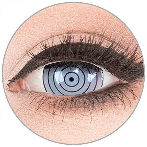 Farbige Kontaktlinsen zu Fasching Karneval Halloween in Topqualität von 'Glamlens' ohne Stärke 1 Paar Crazy Fun Mini Scleara graue 'Rinnegan Eye' 17 mm (Eye Kontaktlinsen Blind Halloween)