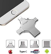 Externer Speicher iPhone, USB Stick 16 gb, 4 in 1 USB Memory Stick- USB Flash Drive Metall Speicherstick Speichererweiterung für Apple iPhone iPad Android Notebook USB 2.0 Silber