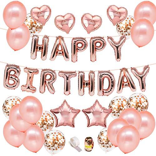 VICKSONGS Geburtstags Dekoration Rosegold Luftballons, Happy Birthday Girlande Banner Herz Stern Folienballon Konfetti Latex Helium Ballons für Geburtstagsdeko Mädchen Frauen Kinder Baby Party Deko (Band 5 8 Gold-glitter)