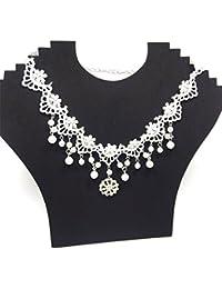 Dxlta Collar de Gargantilla de Encaje para Mujeres - Diademas de Perlas de Cristal Diadema Nupcial Accesorios para el Cabello de Novia