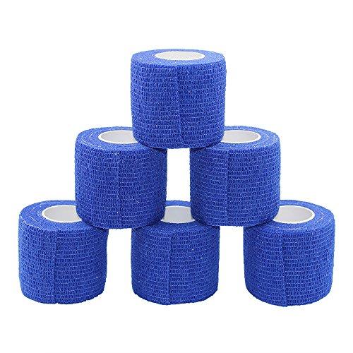 Fuluning 5cm 6 Pack Cohesive Bandages,Self Adhesive Sports Wrap,Bandages Self Adhesive, Sports Bandage,Bandage Tape,Bandages,Crepe Bandage,Dark Blue